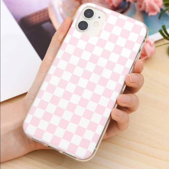 iPhone XR Pastel Pink Checkered Case
